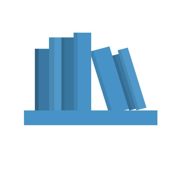 graphic illustration of books on a shelf