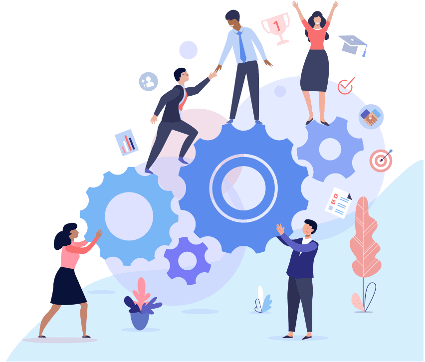 illustration of people building a puzzle as a team