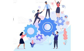 Illustration of people helping each other get to the top